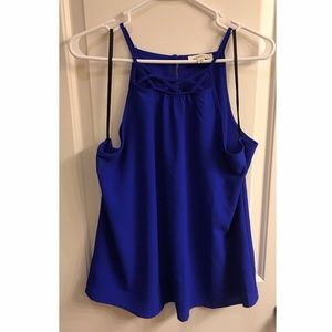 Royal Blue Top with Lattice Detail